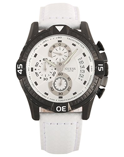 GUESS? Men's 'Activator' Quartz Stainless Steel and Leather Casual Watch, Color:White (Model: W18547G2)