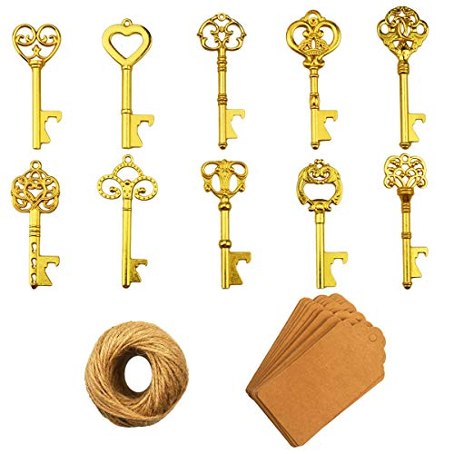 Key Bottle Openers – 50Pcs Vintage Skeleton Key Bottle Opener with Kraft Paper Gift Tags and Twine for Wedding Favors Antique Rustic Party Decoration (10 Styles, Golden)