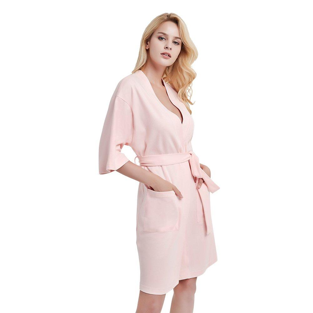 U2SKIIN Womens Cotton Robe Lightweight Short Kimono (Pink, 2XL)