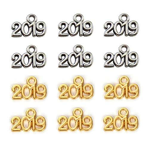The Making Of Halloween 2019 (2019 Year Charm Pendant for DIY Jewelry Making Accessories Earrings Graduation Party Decor Antique Silver & Gold)