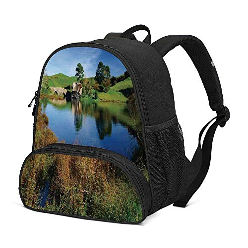 Hobbits Durable Kids Backpack,Hobbit Land Village House by Lake with Stone Bridge Farmhouse Cottage New Zealand for School Travel,10