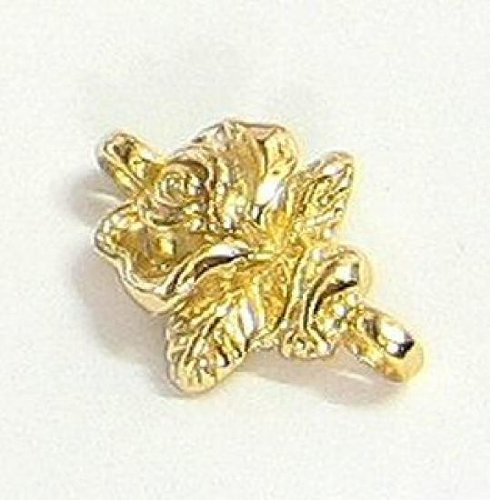 2 pcs 14K Gold on .925 Sterling Silver 12.5mm X17mm Rose Flower Bead Link Dangle Earrings Connector / Findings / Yellow ()