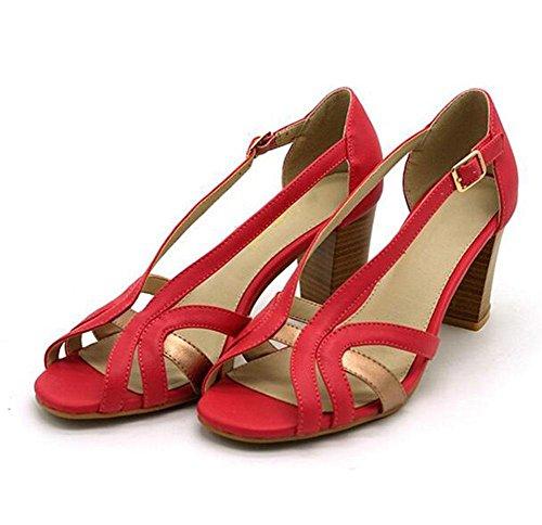 hebilla gruesa KUKI de de Sandalias moda rojo con zapatos mujer con cuadrada cómodos qfpwI