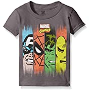 Marvel Little Boys' Toddler Comics Super Heroes Face Panel Short Sleeve T-Shirt, Charcoal, 2T