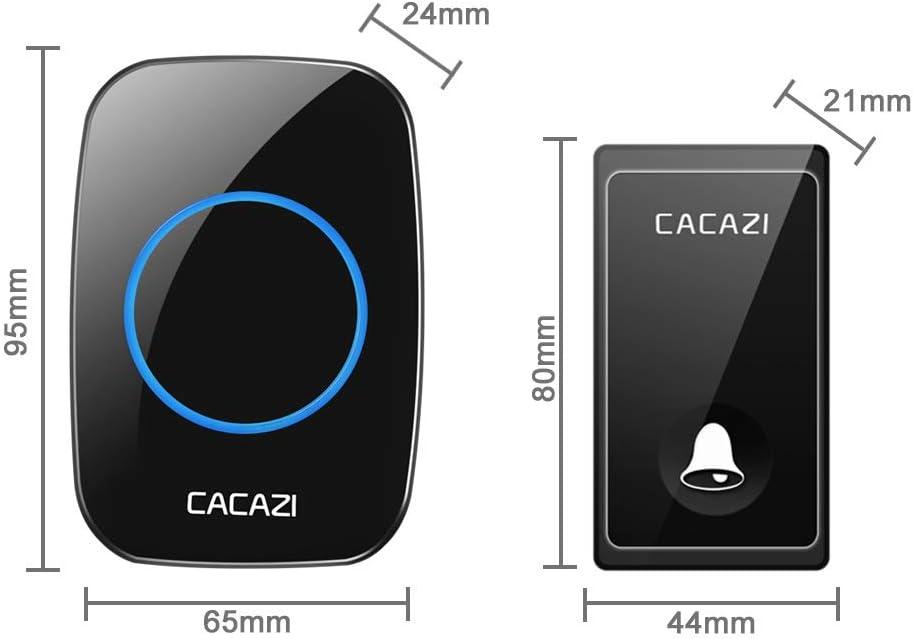 sin bater/ías necesarias para los receptores BESTSUGER Timbre inal/ámbrico Sistema de Alerta Timbre Chime 2 transmisor y 5 receptores con 58 Tonos