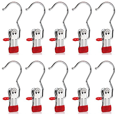 Set of 10 Closet Hanger Laundry Hooks Boot Clips Home Office Travel Portable, Red (Shoe Hanger Clips compare prices)