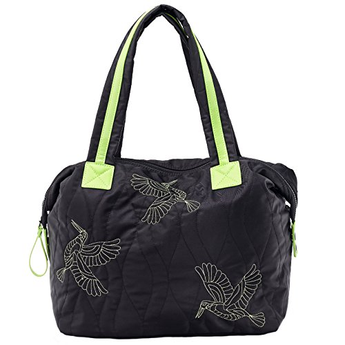 Dream Control Quilted Nylon Contrast Tote Shopping Shopper Shoulder Bag Black Black/Neon
