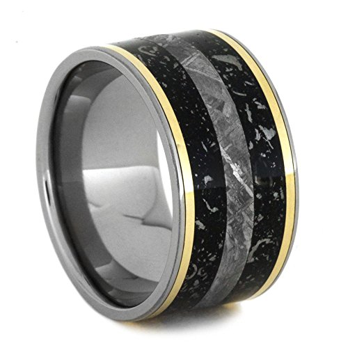 Black Stardust, Gibeon Meteorite, 14k Yellow Gold 11.5mm Comfort-Fit Titanium Wedding Band, Size 6 by The Men's Jewelry Store (Unisex Jewelry)