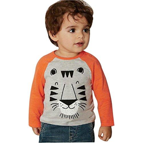 SunWard(TM) New Kids Boys Lion Print Long Sleeve T-shirt (Size:24M, Gray) (Lion Custome)