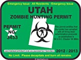 Utah zombie hunting permit decal bumper sticker