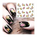 1 Sets Gothic Blooming Flower Nail Art Sticker Water Transfer Nails Wrap Paint Tattoos Stamp Plates Templates Tools Tips Kits Marvelous Popular Xmas Christmas Stick Tool Vinyls Decals Kit, Type-02