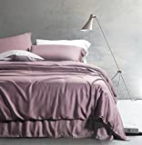 Dark Plum Duvet Cover Solid Color Egyptian Cotton Duvet Cover Luxury Bedding Set High Thread Count Long Staple Sateen Weave Silky Soft Breathable Pima Quality Bed Linen (Queen, Twilight Mauve)