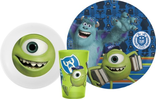 Zak! Designs Mealtime Set with Plate, Bowl and Tumbler featuring Monster's University Graphics, Break-resistant and BPA-free plastic, 3 Piece Set ()