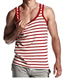 CIC Collection Mens Stripe Hot Sleeveless Vest Tank Top, Red, US M / Tag size L
