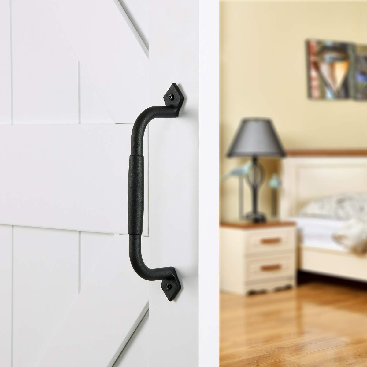 SMARTSTANDARD 10 inch Black Barn Door Pull Handle for Gate Kitchen Furniture Cabinet Closet Drawer
