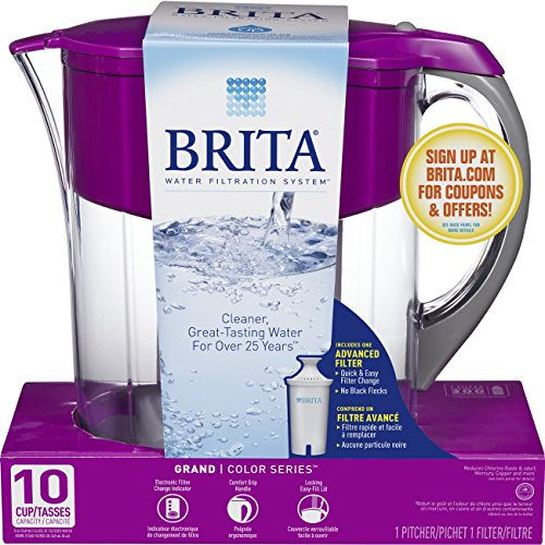 Brita Pitcher Water Filtration System (Brita Large 10 Cup Grand Water Pitcher with Filter - BPA Free - Violet)