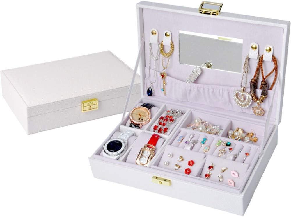 Caja de joyería de Cuero Caja de Almacenamiento de Collar con aretes de Anillo Estuche de Cuero Doble con bisutería de Espejo Blanco: Amazon.es: Belleza