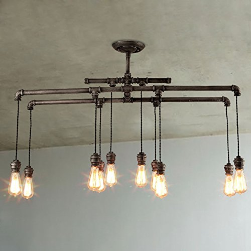 BAYCHEER HL409482 Industrial Style Metal Multi-Light Large Pendant Lighting Hanging Pipe Light Lamp Fixture Ceiling Lights use 10 E26 Bulbs in Black Finish by BAYCHEER
