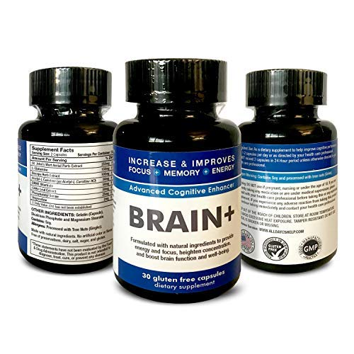 Brain Plus + Improve Memory + Boost Brain Power + Enhance Mental Clarity - Advanced Cognitive Enhancer - DMAE, Bacopa Herb Extract, Ginkgo Leaf & More