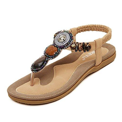 YOUJIA Mujeres Thongs Sandalias Bohemia Elegante Rebordeado Slippers Rhinestone Verano Zapatos de la playa Albaricoque