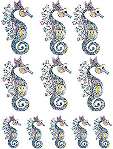 Lace Pastel Sea Horses - 81339 - Ceramic Decal - Enamel Decal - Glass Decal - Waterslide Decal - 3 Different Size Sheet (Images) to Choose from. Choose Either Ceramic (Enamel) or Glass Fusing Decals XpressionDecals