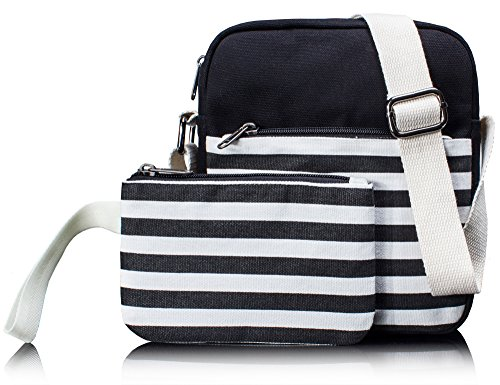 Canvas Messenger Bag Crossbody Bags for Women Purse Travel Shoulder Bag Pencil Case 2 PCS by Leaper (Black)