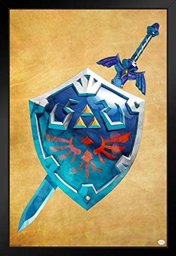 Pyramid America Legend of Zelda Link Sword and Shield Video Game Gaming Framed Poster 14x20 inch (League Of Zelda Breath Of The Wild)