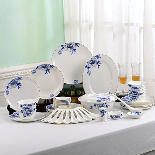 Porlien Elegance Collection Chinese Blue Flower Porcelain Di