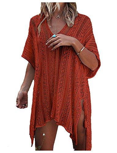 Wander Agio Beach Swimsuit for Women Sleeve Coverups Bikini Cover Up Net Slit Caramel,OneSize