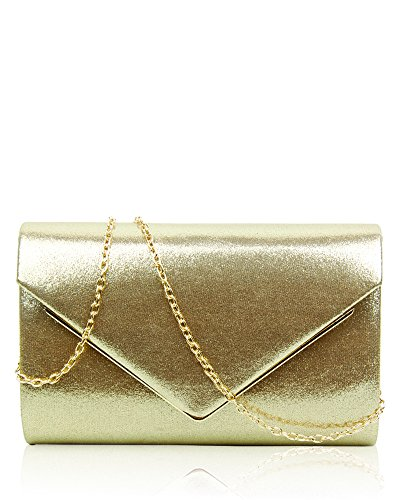Day 22 Gold Club Handbag 5x14x6 Clutch Case Purse Bridal For Envelope Party Evening Women's Ladies Shape Hard Prom Bag Wedding cm Satin Design Size 1WXawgYRq