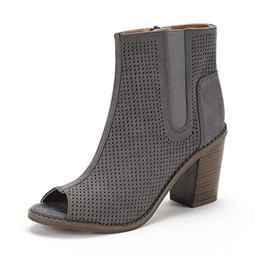 Dream Pairs Reuters Womens New Peep Toe Perforated Mid Chunky Heel Elastic Side Panel Lady Ankle Booties Shoes Grey Size 7