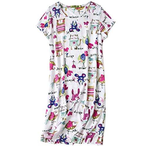 (ENJOYNIGHT Womens' Short Sleeve Nightgown Print Sleep Dress Cute Sleepwear (Large,)