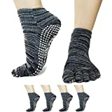 Colorful Open Toe Yoga Socks: Hot Yoga. Barre, Pilates Socks with Full Foot Grips for Non Skid (Gray 2 Pack Closed Top)