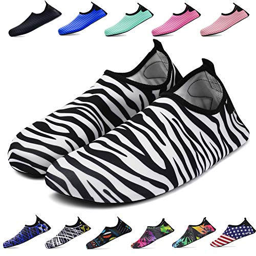 (bridawn Water Shoes for Women and Men, Quick-Dry Socks Barefoot Shoes for Swim Yoga Beach Surf Aqua Sports, Zebra-Stripe, XXXL)