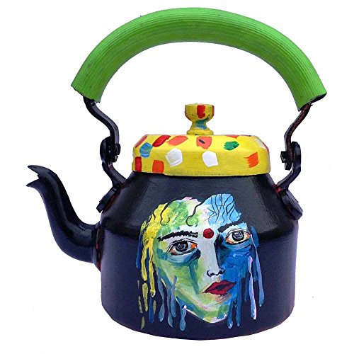 Prastara Indian Hand Painted Aluminum Tea Kettle - Colorful, Quirky, Funky N Designer Naari Shakti Tea Pot For Home Decor - Can Be Used As Showpiece, Dinnerware Or Kitchenware