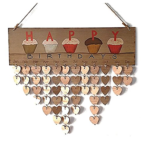 Pendant Drop Ornaments - Creative Fashion Wood Birthday Important Day Reminder Board Diy Calendar Happy Cake - Table Board Pocket Family Wall Office Planner Wooden Cute 2019