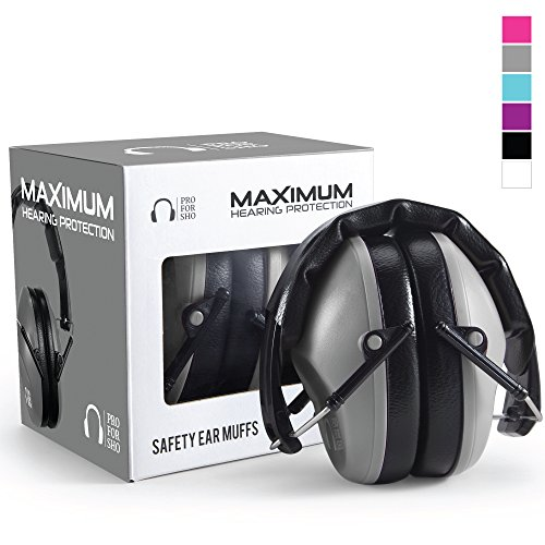 oting Ear Protection - Special Designed Ear Muffs Lighter Weight & Maximum Hearing Protection - Standard Size, Grey ()