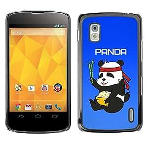 TECHCASE**Cubierta de la caja de protección la piel dura para el ** LG Google Nexus 4 E960 ** Panda Chinese Food Rice Bamboo Bear Cute