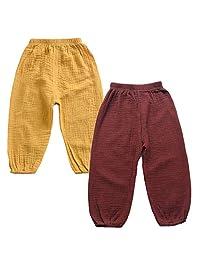 EISHOW Adorable Unisex Kids Cotton Linen 2-Pack Harem Pants Newborn Toddler Girls Boys Solid Color Elastic Trousers