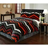 red and white chevron quilt - 3 Piece Multi Chevron Themed Comforter Queen Set, Beautiful Zig Zag Shades Design, Adorable V Shape Striped Pattern, Contemporary Patterned Style, Reversible Bedding, Grey White Orange Red Brown