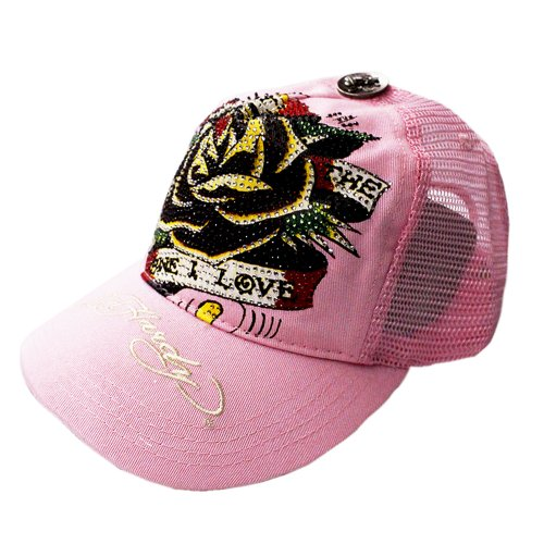 Roses Hardy Ed Womens (Ed Hardy Rhinestone Platinum Trucker Hat Cap - Rose (Pink))