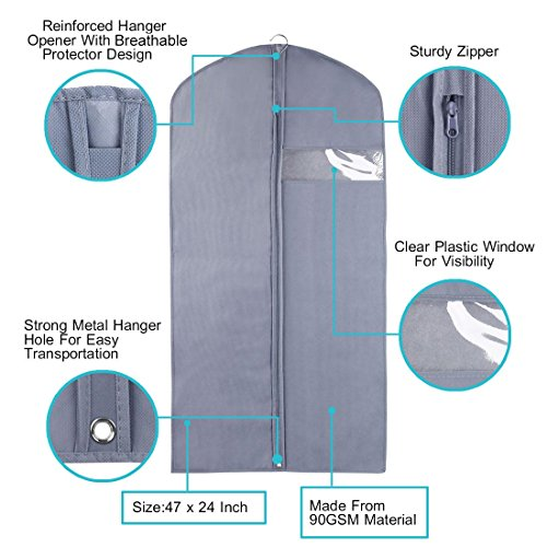 b0c226030b05 uxcell 47 Inch Black Breathable Foldable Garment Bag for Travel and  Storage, Full Zipper Suit Covers Hanger Bag with Clear Window for Closet  Luggage ...