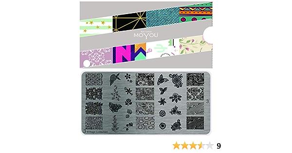 3 placas vintage MoYous XL, colección con diseños florales: Amazon.es: Belleza