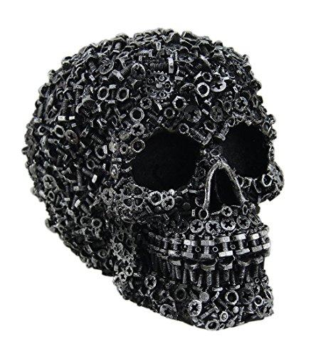 Zeckos Scrap Head Steampunk Junk Pile Nuts & Bolts Covered Skull Statue 6 inch