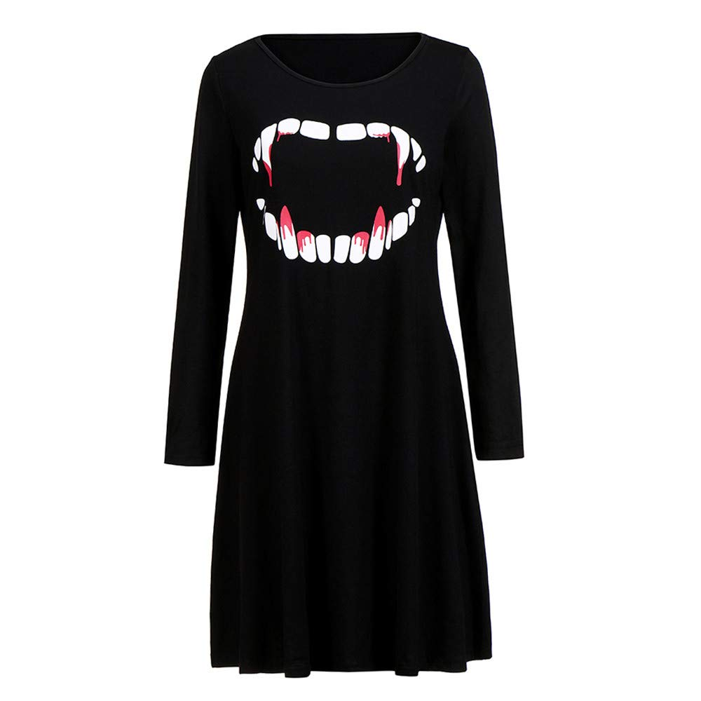 Ulanda Fashion Women Long Sleeve Pumpkins Halloween Evening Prom Costume Swing Dress (XL, Black - Vampire)