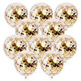 MyLifeUNIT Gold Confetti Balloons, 50 Pcs Large Confetti Balloons Decorations for Birthday Party, 12 Inch