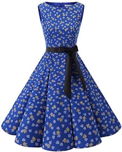 Bbonlinedress Women's 1950s Audrey Summer Vintage Rockabilly Swing Dress RoyalBlue Leaves XL