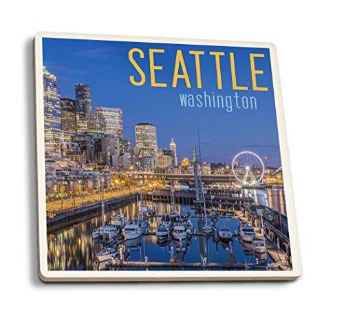 Lantern Press Seattle, Washington - Waterfront Scene (Set of 4 Ceramic Coasters - Cork-Backed, Absorbent)
