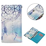 """Universal Cell Phone Flip Case Compatible LG G Stylo G4 Stylus 4G LS770 H631 F560K 5.7"""" and More, Tenplus PU Leather Skin Protective Folio Case Cover Wallet Bag with Card Slots (White Dreamcatcher)"""