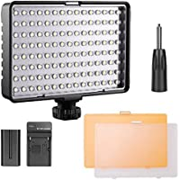 FOSITAN TL-160S LED Camera Video Light 160pcs Ultra Bright LED 11W 960LM 3200K/5500K with NP-F550 Lithium battery for Canon Nikon Pentax Panasonic Sony Samsung SLR Camera Video Camcorder